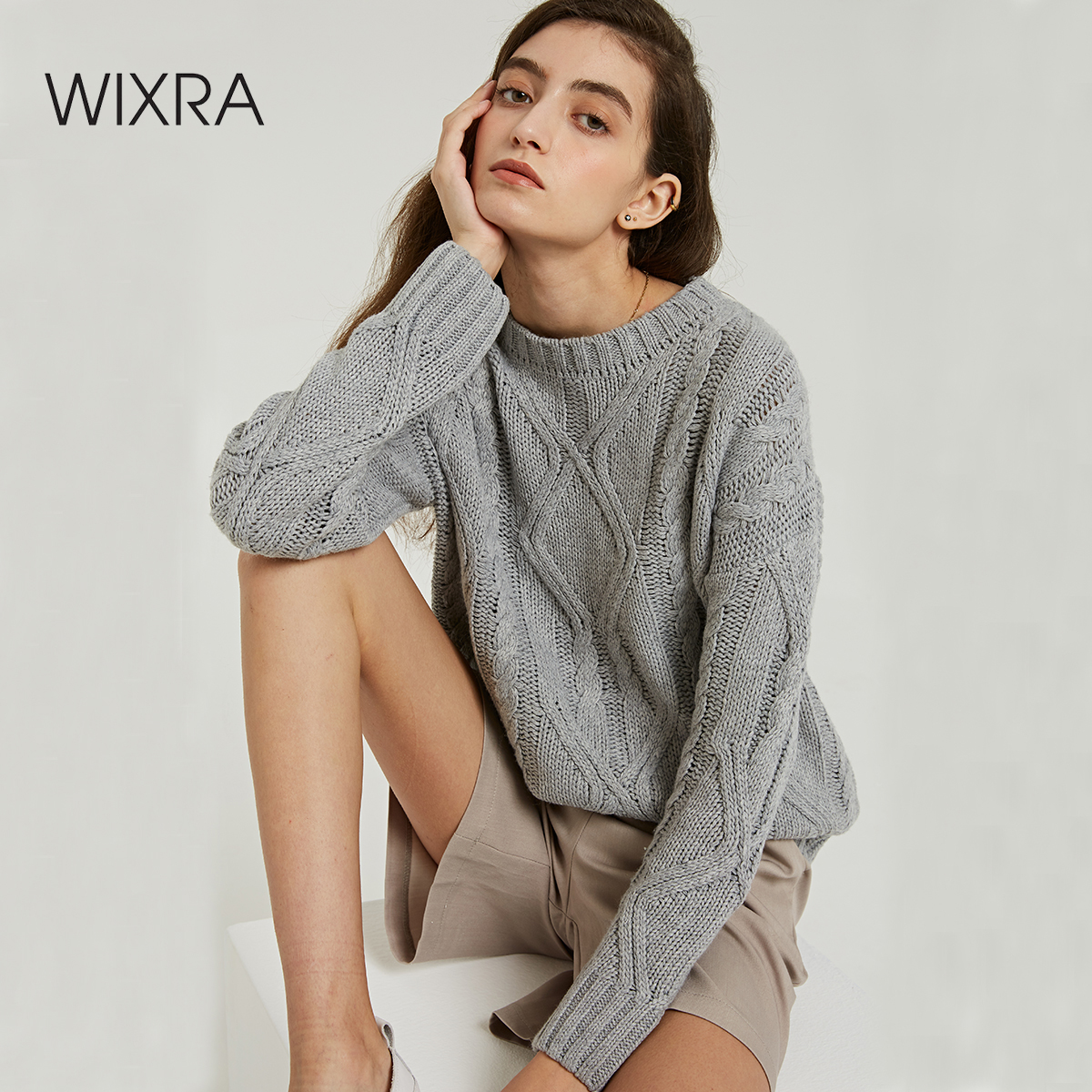 Wixra Solid Sweaters 2019 Autumn Winter Female O Neck Casual Warm Ladies Knitted Sweater Pullovers Women's Jumpers