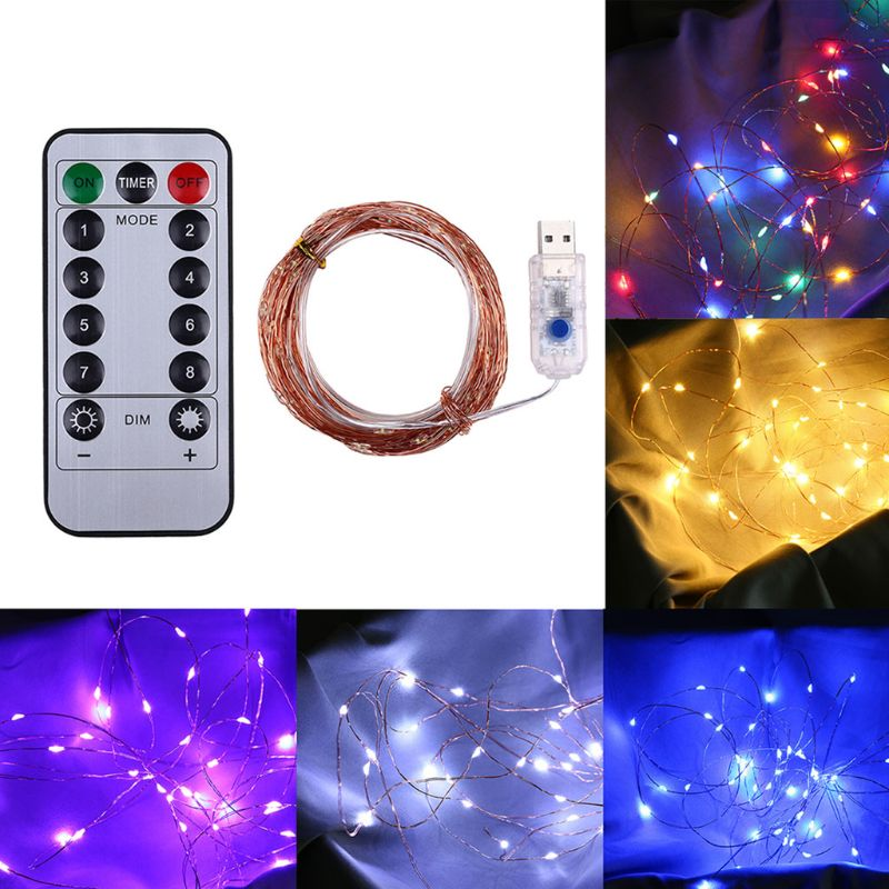 200 LEDs USB Brass Wire String Light 8 Modes Holiday Party Wedding Home Decor Q84D For LED