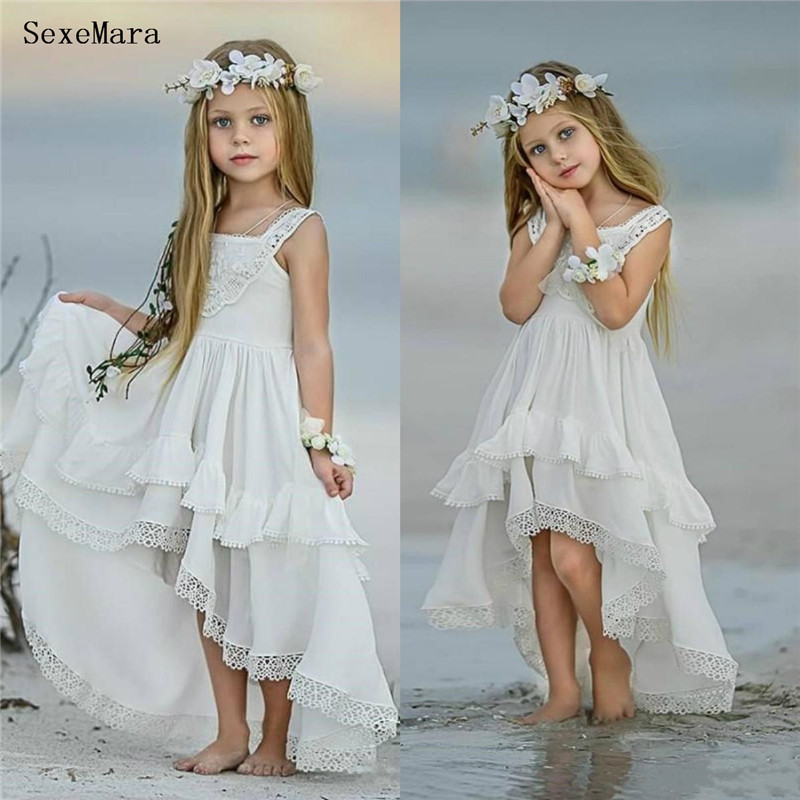 New White Communion Dresses For Girls Sleeveless Lace Appliques Flower Girl Dresses For Weddings Kids Clothes Size 2-16years