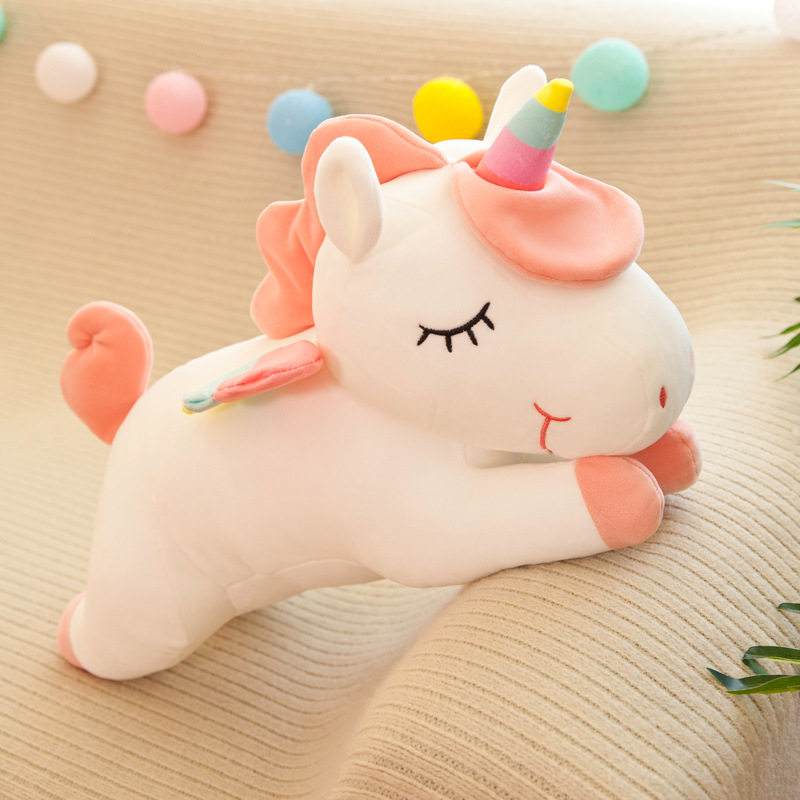 Cute Soft Long Unicorn Pillow Plush Toys Stuffed Pause Office Nap Pillow Bed Sleep Pillow Home Decor Gift Doll for Kids Girl  - buy with discount