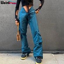 Dziwne kot 2021 wiosna Y2K kobiety V Cargo spodnie luźne stałe Boot Cut casualowe kieszenie Streetwear sportowa Baggy