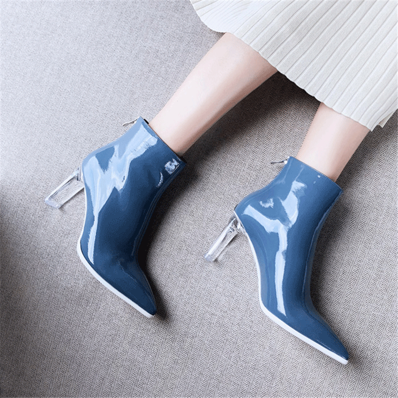 Ankle Boots Clear High Heels Women Shoes Genuine Leather Martin Boots Fashion Shoe Black Red Autumn Winter 2019 New Ladies Boots
