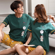 Hot Sale Couple Pajamas Set Summer Men And Women cotton Pyjamas Lovers Sleepwear Plus Size short sleeved Nightwear Home Clothing