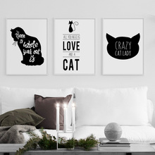 Cartoon Black Cat Quote Wall Art Canvas Painting Nordic Posters And Prints Pictures For Living Room Home Decor