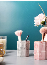 Shiny Porcelain.Nordic marble ceramic penholder cosmetic brush receptacle household soft vase accessories
