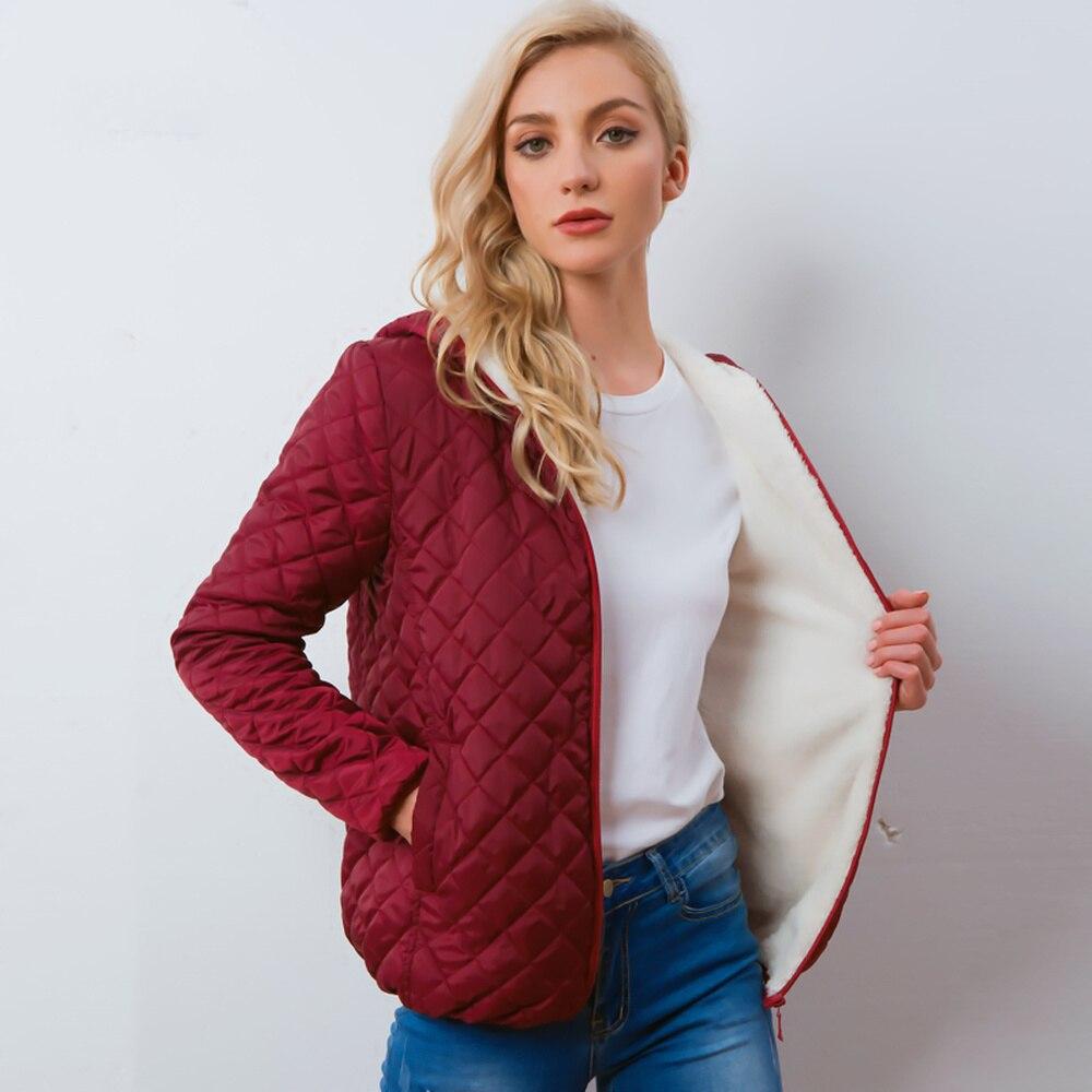 Autumn 2019 new Parkas   Basic     jackets   Women winter plus velvet lamb hooded cotton coats winter   jacket   for women coat