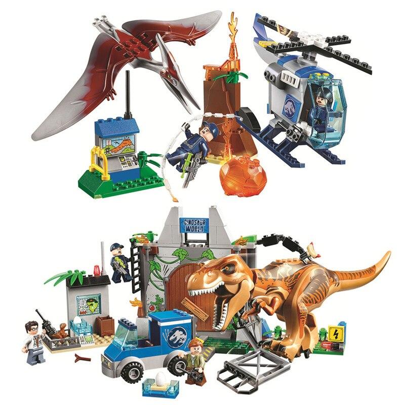 2pcs Jurassic World Park Pteranodon Escape T.rex Breakout Building Blocks Sets Classic Movie Model Kids Toys For Children Gift