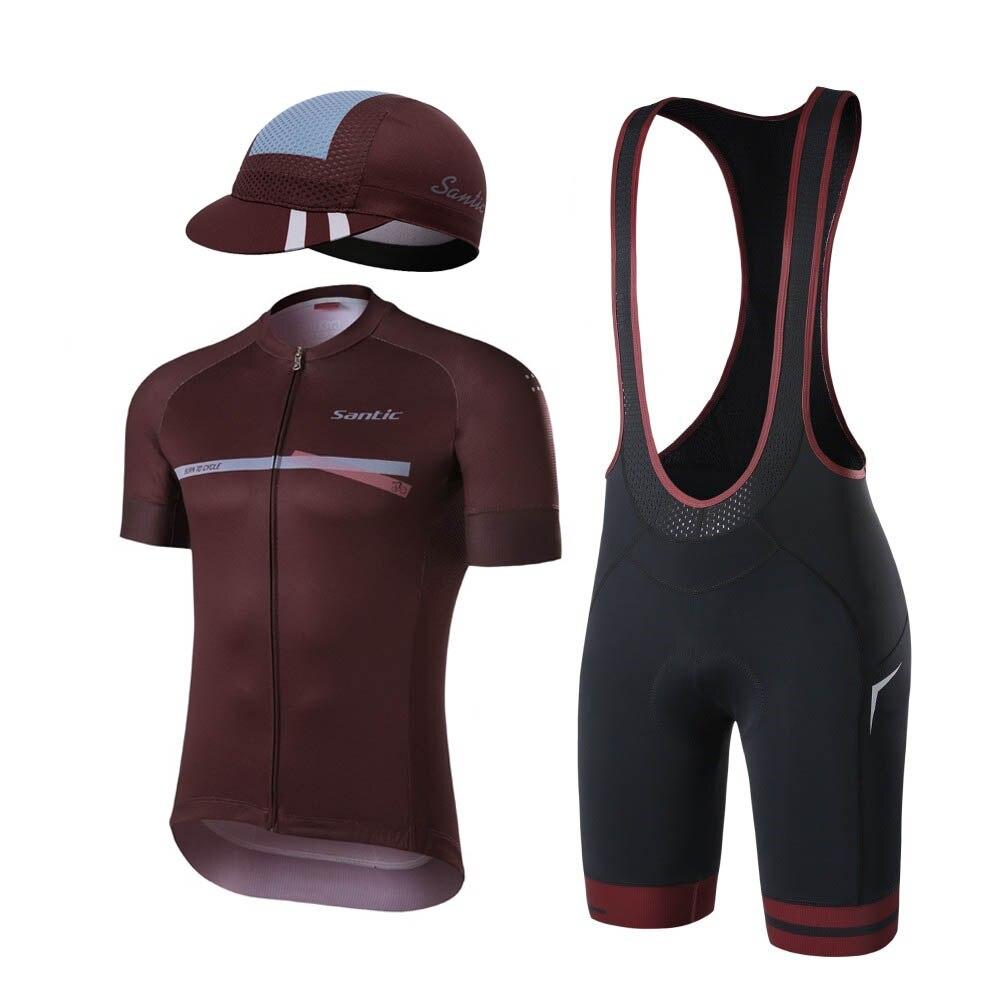 Велосипедные комплекты Santic, дышащие командные трикотажные шорты-комбинезоны, мужские уличные велосипедные шорты с гелевыми вставками, све...