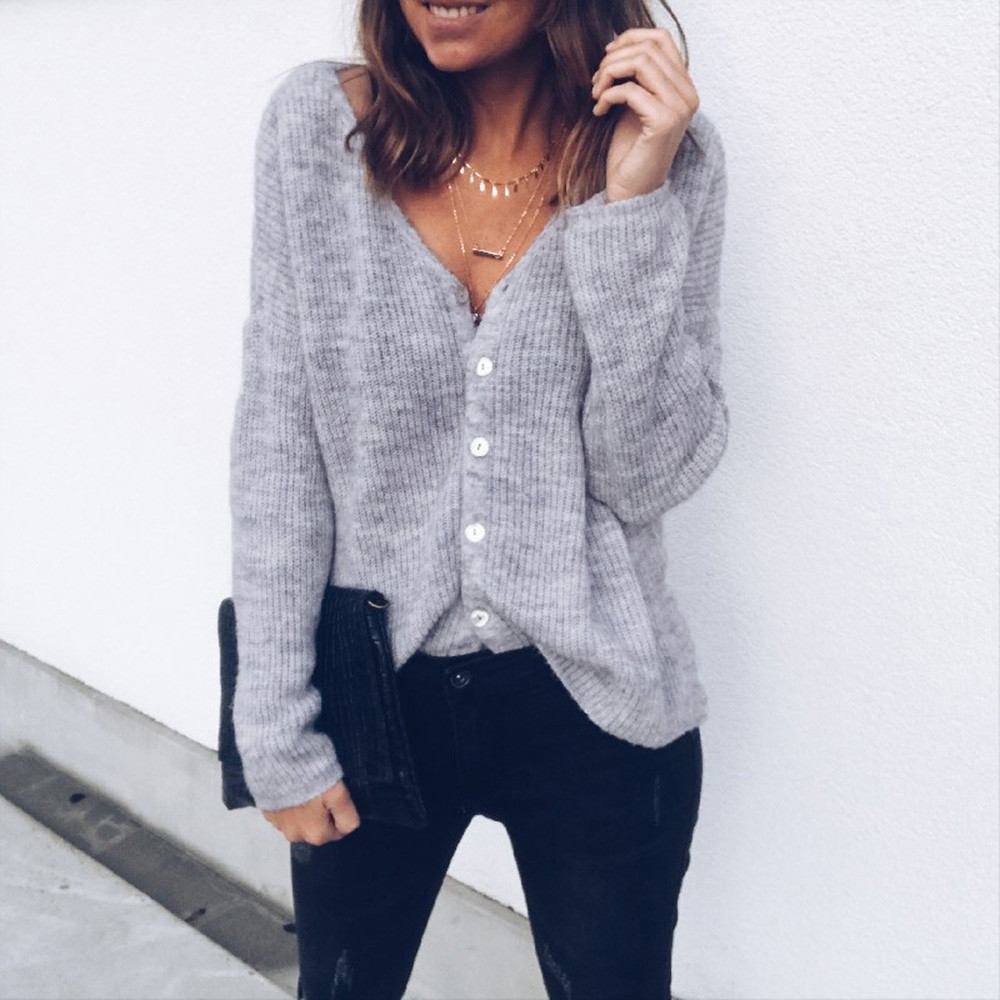 Sweater Knit Blouse Ladies Casual Cardigan Solid Knit Blouse Vest Ladies