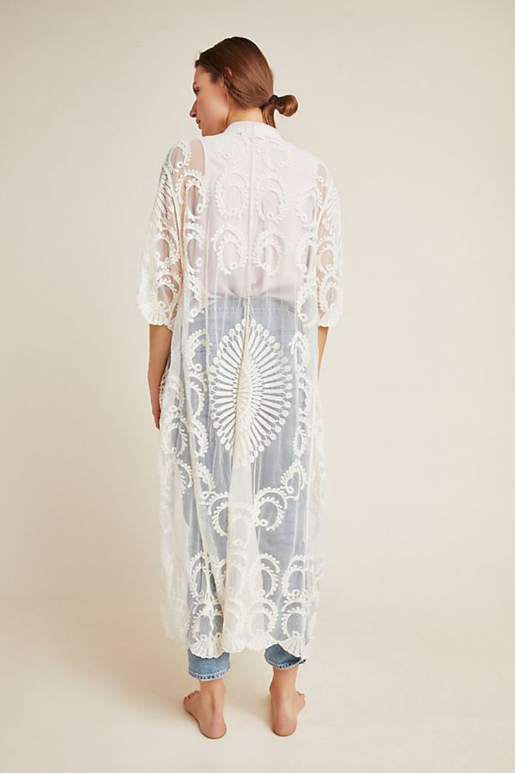 Europe And America Mesh Embroidery Sexy Cardigan Beach Skirt Loose-Fit Holiday Skirt Bikini Outer Blouse Sun Shirt