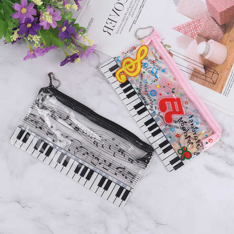 1 caja de lápices de música papelería musical teclado de notas de plástico transparente bolsa de lápices para estudiantes papelería suministros de oficina