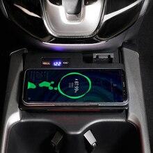 Cargador de teléfono inalámbrico QI para coche, consola central de carga de 15W, soporte de teléfono, accesorios para Honda CRV CR V 2017 2018 2019