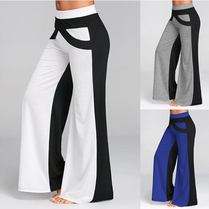 2019 Women Fashion Colorblock High Waist Wide Leg Pants Sweatpants Women Plus Size Casual Loose Sweatpants Hot Sale