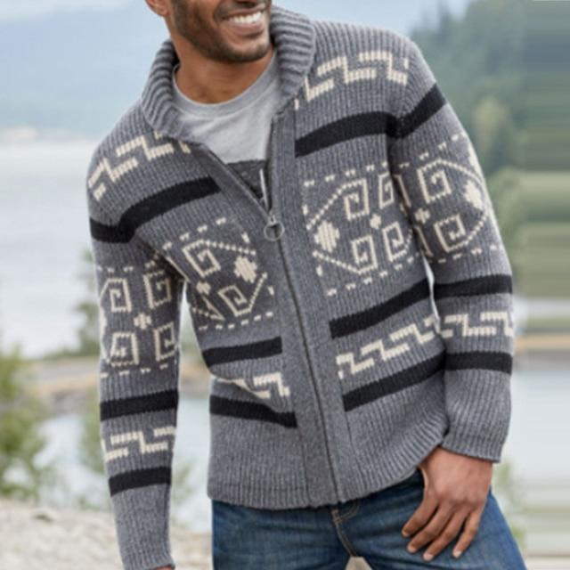Мужской трикотажный свитер на молнии с оригинальным рисунком 4