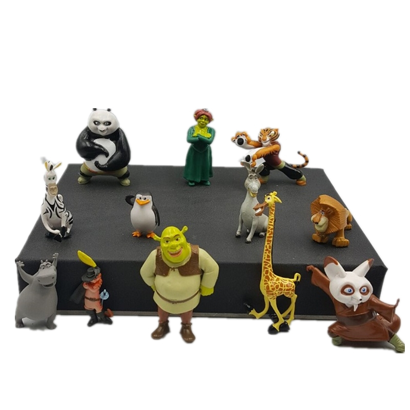 12pcs/set DSN Shrek Panda Madagascar Toys PVC Action Figures Movies TV Plush Toys Kids Toys Gifts For Children New Year Gifts