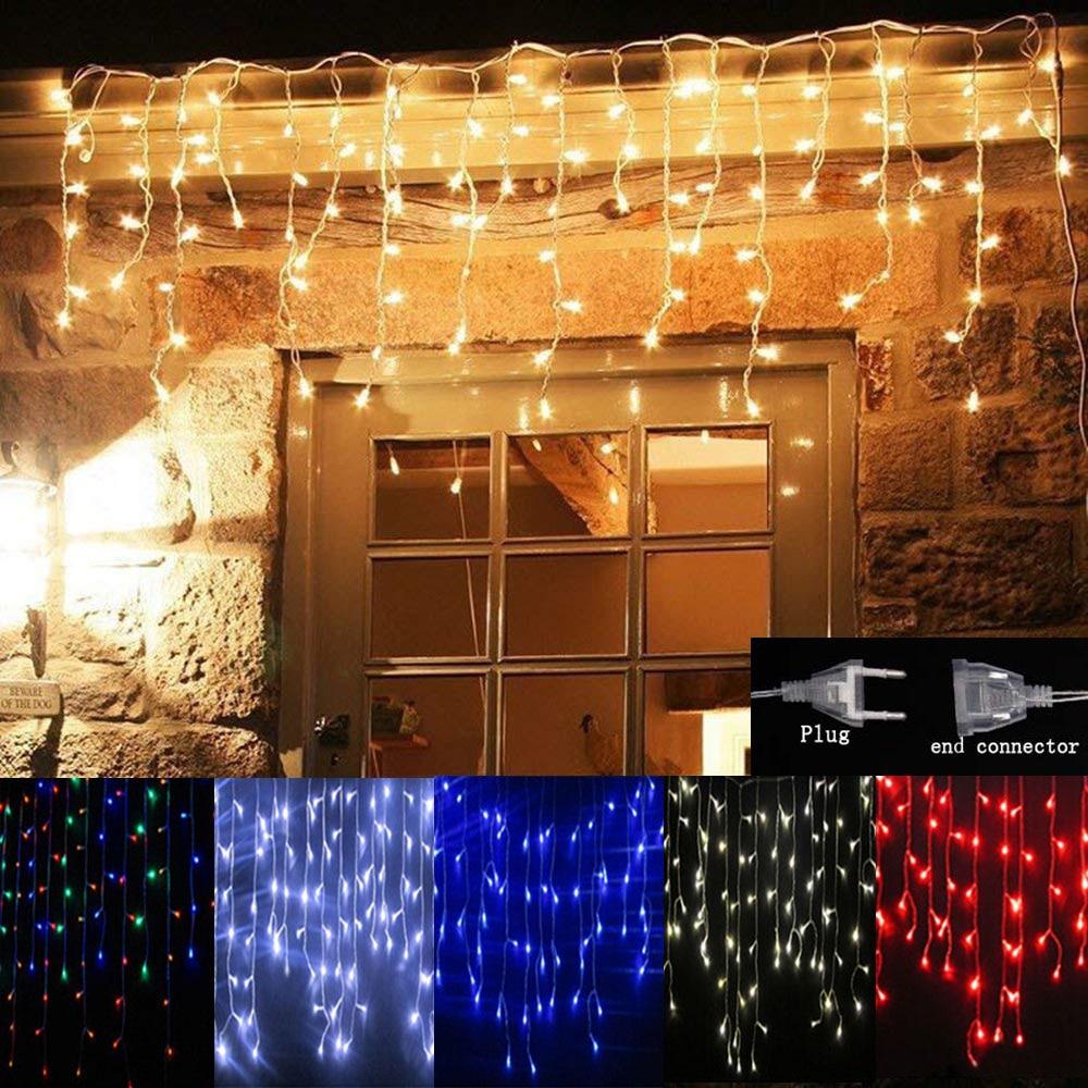 Navidad cortina LED guirnalda de luces tipo cortina 5M 4M Leds Droop al aire libre vacaciones fiesta luces decoración lámpara interior boda para la habitación Luces LED de Navidad para exteriores sicsaee, 100 M, 20 M, 10 M, 5 M, Luces de decoración, Luces de hadas, Luces de vacaciones, guirnalda de árbol de iluminación