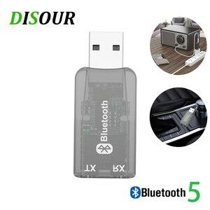 Image 1 - DISOUR 5.0 USB الصوت جهاز إرسال بلوتوث استقبال للتلفزيون سيارة 3.5 مللي متر AUX ستيريو Musci 2 في 1 لاسلكية محول Aptx USB دونغل