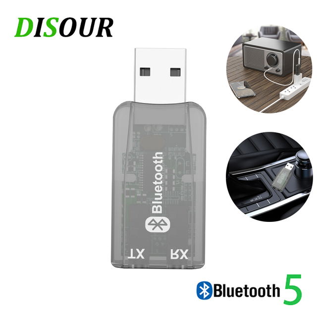 DISOUR 5.0 USB الصوت جهاز إرسال بلوتوث استقبال للتلفزيون سيارة 3.5 مللي متر AUX ستيريو Musci 2 في 1 لاسلكية محول Aptx USB دونغل