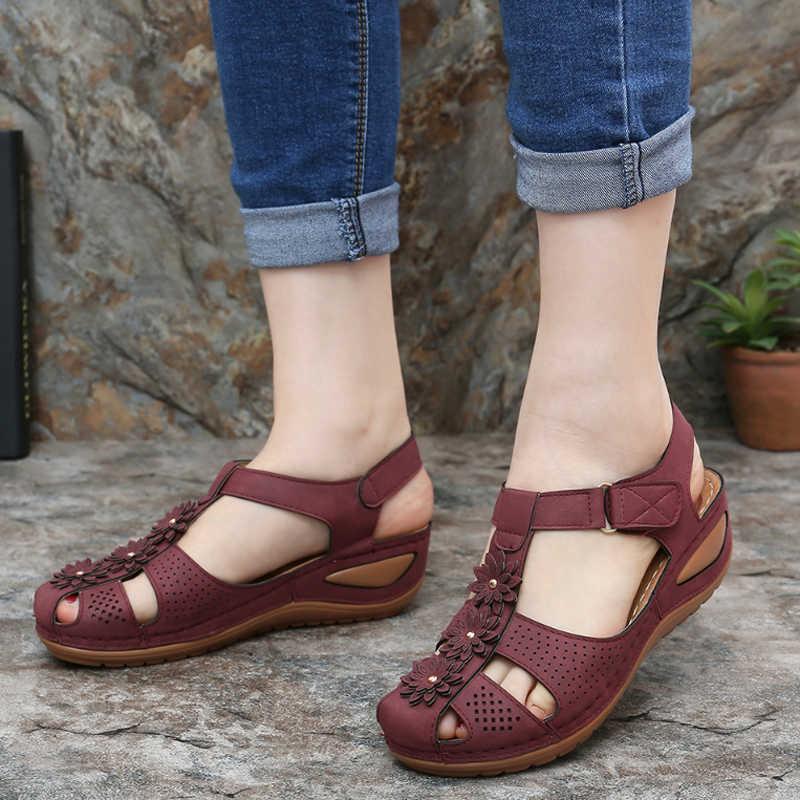 Frauen Keil Gladiator Sandalen Frauen Schuhe Peep Toe Böhmen Flip-Flop Ankle Strap Casual Outdoor Wandern Slip auf Zandalias mujer