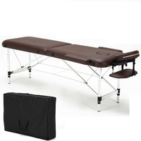 H Folding Massage Bed with Aluminum Foot Portable Relaxing Massage Table 8 Gear Height Adjustable 200kg Bearing