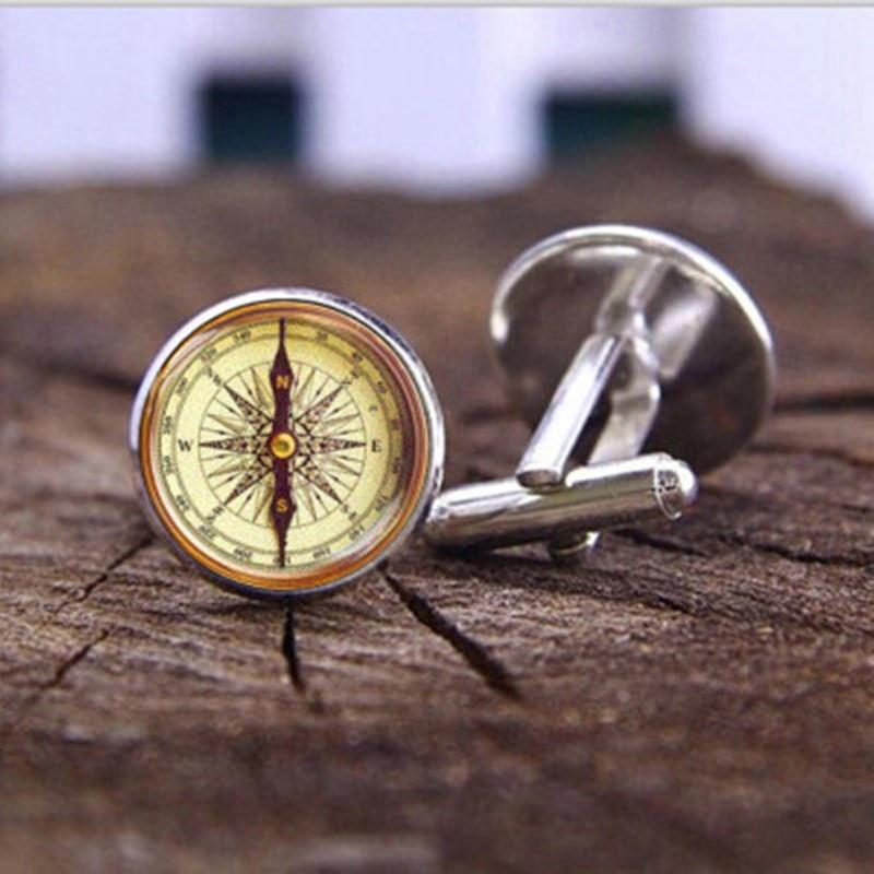 1pcs Vintage Compass Time Gem Cufflinks French Men's Shirt Cufflinks Suit Buttons Camping Guided Reading Brass Compass
