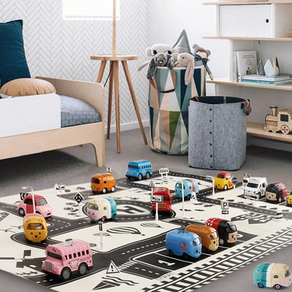 83x59cm crianças carro cidade estrada jogar tapete sinais de tráfego blocos educação brinquedo durável crianças jogar esteira e bloco de construção brinquedo