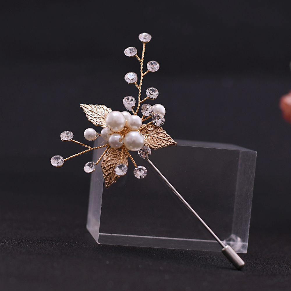 YouLaPan Golden Leaf Groom Boutonniere Wedding Party Man's Suit Corsage Wedding Brooch Custom Bridal Wedding Corsage HXZ01