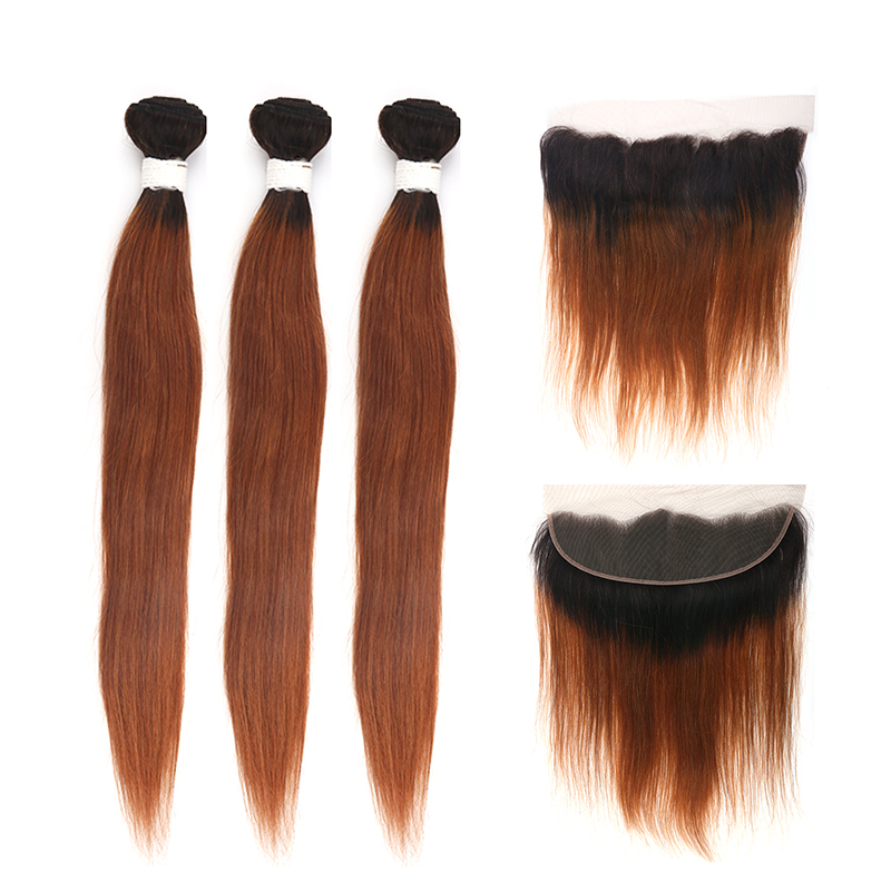 T1B/<font><b>30</b></font> Ombre Brown Straight Human Hair <font><b>Bundles</b></font> <font><b>With</b></font> <font><b>Closure</b></font> Brazilian <font><b>1B</b></font>/<font><b>30</b></font> <font><b>Bundles</b></font> <font><b>With</b></font> 13*4 Frontal KEMY HAIR Non Remy 3PCS image