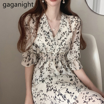 Gaganight Women Retro Floral Dress Cross V Neck Wooden Ear Slim Long Vestido Summer Elegant Chiffon Short Sleeve Dresses Femme 1