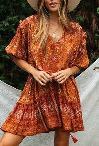 Image 3 - בציר שיק נשים כתום פרחוני הדפסת שרוול פנס ציצית חוף בוהמי מיני שמלות גבירותיי V צוואר זהורית Boho שמלה