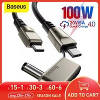 Baseus-Cable USB tipo C para cargador de ordenador portátil, Cable de carga rápida de 100W para Lenovo ASUS, Huawei y Samsung
