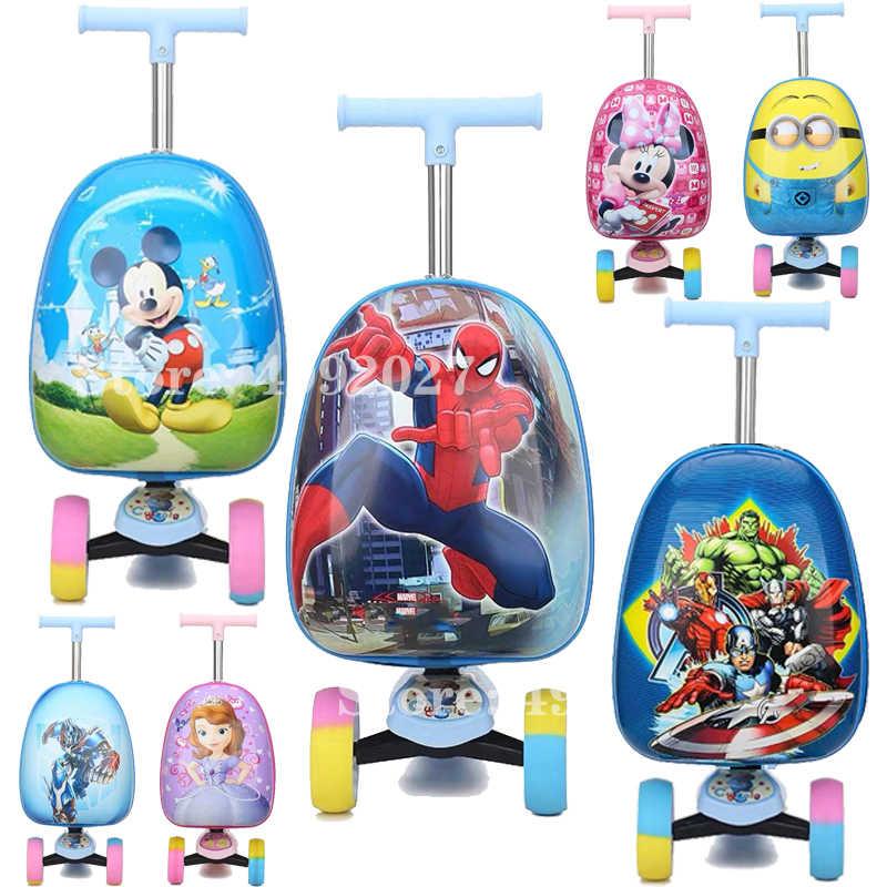 חדש סגנון ילדים קטנוע מזוודה לשאת על סקייטבורד עצלן מטען עגלת תיק לילדים מתנה סקוטר בקתת סקייטבורד מזוודה