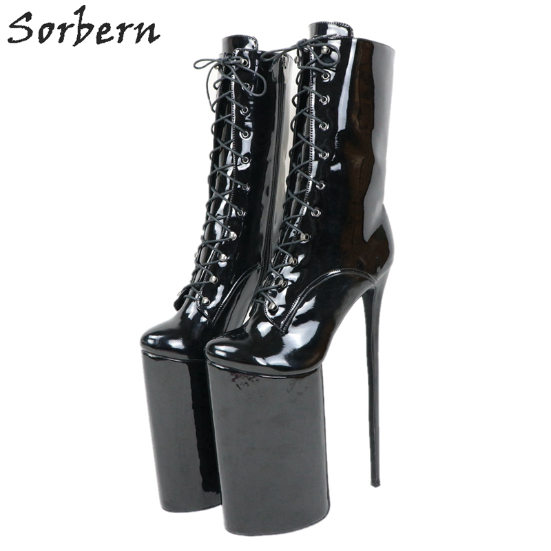 Sorbern Extreme High Heel 30Cm Boots For Crossdresser Platform Lace Up Ladyboy Shoe Short Boots Women Custom Colors