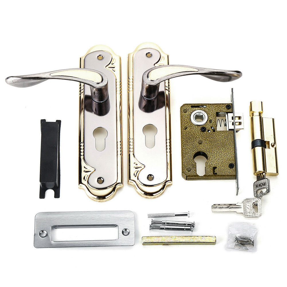 Lever Latch With Handle Front Back Door Lock Set Rust Proof Privacy Hardware Security Mortise Universal Durable Aluminum Alloy