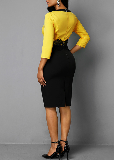 Plus Size Women 2019 Autumn Retro Yellow Stitching Large Size Dress Ladies Round Neck Casual 3/4 Sleeve Slim Bag Hip Step Dress 4