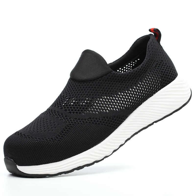 2020 男性ブーツ男性安全靴鋼つま先建設保護靴軽量 3D 耐衝撃作業スニーカーの靴