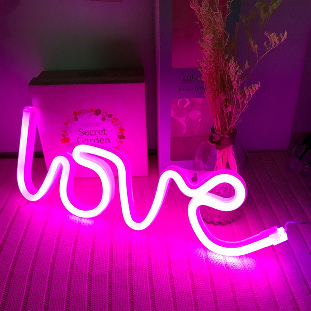 LED Neon Sign Light Love Flashing Cloud Moon Wall Word Poster Background Room Shop Wedding Christmas Decor Photography Prop D30
