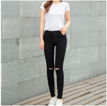 2019 Vintage Skinny Jeans For Women Hole Vintage Girls Slim Ripped Denim Pencil Pants Stretch Trousers Casual Jeans 2017 women s slim hole irregular stretch jeans ladies ripped washed denim trousers skinny pencil pants
