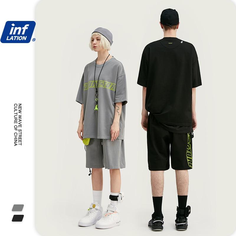 INFLATION 2020 Men Summer Suit термобелье Streetwear Cotton Fashions Short Sleeve Men T Shirt Elastic Waist Men Casual Short