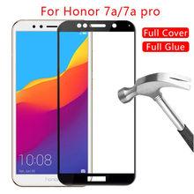 2 pçs vidro temperado para huawei honor 7a pro AUM-AL29 cola completa protetor de tela em honra 7c pro LND-L29 7x 7a 7s película protetora