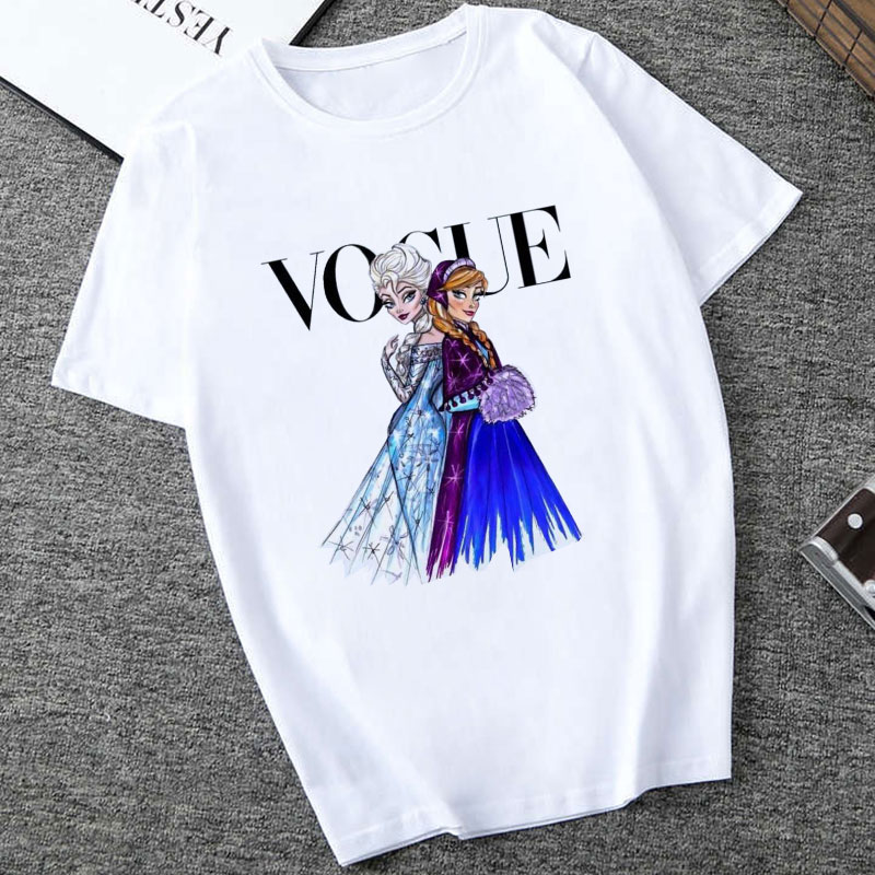 Women White Top Shirt VOGUE Lady Harajuku Print 19 Summer Short Sleeve Fashion Streetwear Tshirt For Women Korean Top Shirt 14
