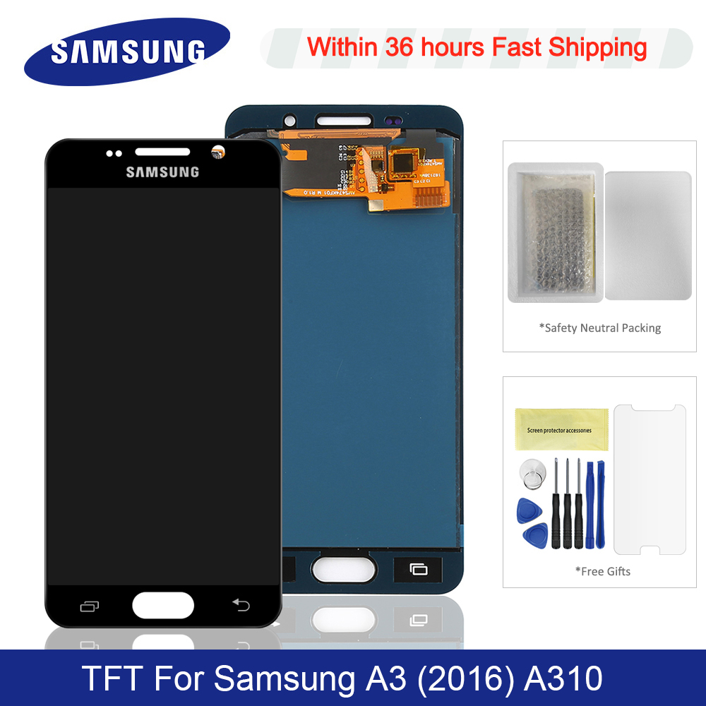 Adjustable Brightness TFT For 4.7'' <font><b>Samsung</b></font> <font><b>Galaxy</b></font> <font><b>A3</b></font> 2016 <font><b>LCD</b></font> Display + Touch Screen Digitizer Replacement For A310 <font><b>LCD</b></font> Screen image