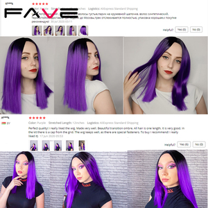 Image 5 - FAVE Ombre Black Purple/Blonde/Grey/Flax Brown/ Straight Synthetic Wig Shoulder Length Middle Part Cosplay For Womens Daily Wig