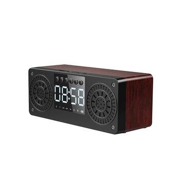 Reloj musical bluetooth altavoz de madera reloj digital mesita de noche reloj alarma clocke altavoz Mesa reloj decorativo con radio FM