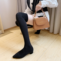 Winter New Women Thigh High Boots 2019 New Knitting Over The Knee Sock Boots Square Heel Pointed Toe Women Boots