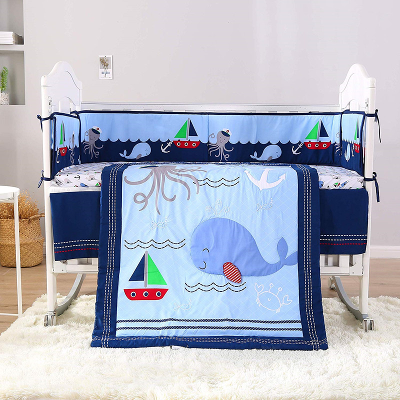 7PCS Marine style Embroidery Baby Crib Cot Bedding Set juego de cama Quilt Bumper Dust Ruffle(4bumper+duvet+bed cover+bed skirt)