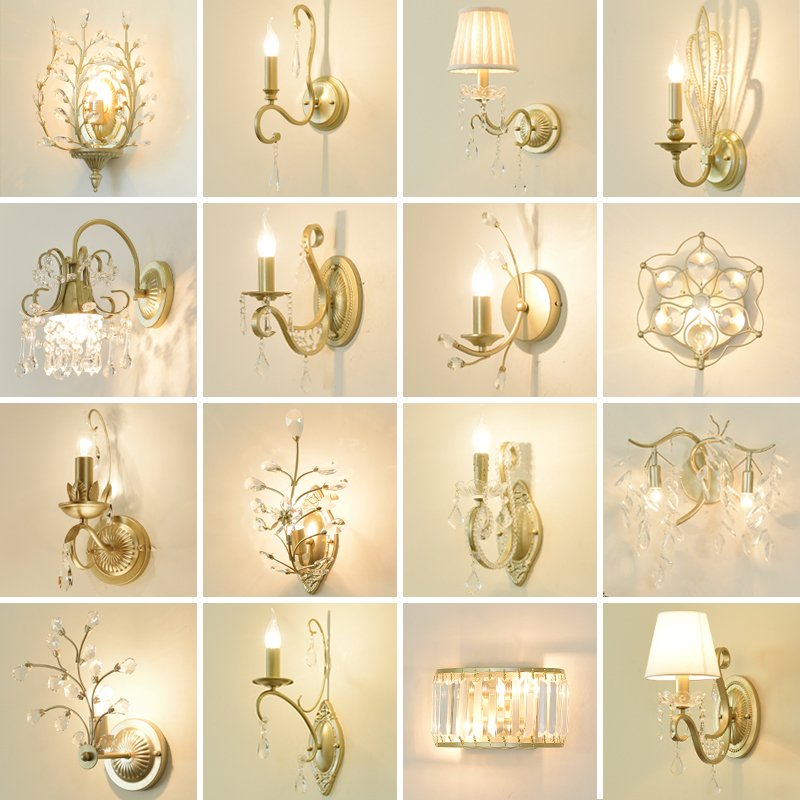 Nordic Country Crystal Wall Lamp Bedroom Bedside Retro-aisle Background Creative Iron