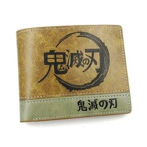 Anime Comics Demon Slayer Wallet With Coin Pocket Card Holder Khaki Leather Purse Men Women Gift Money Bag(China)