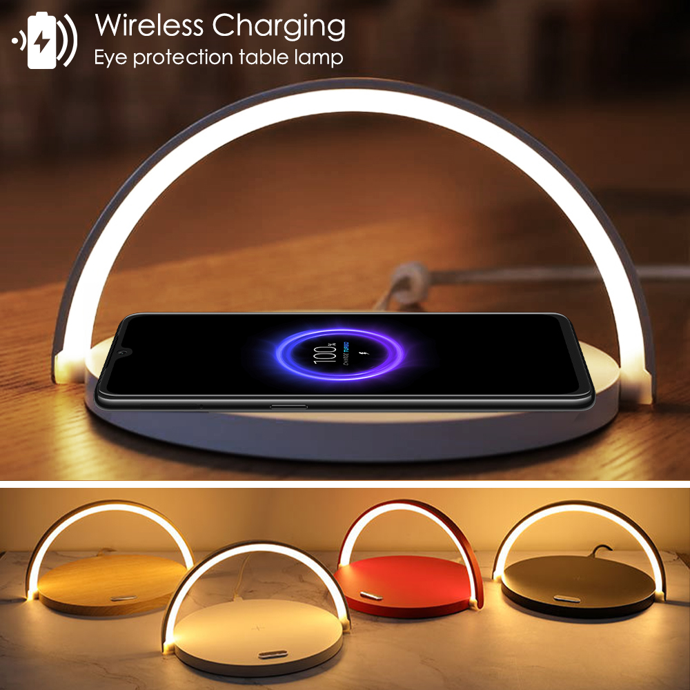 Fast Qi Wireless Charger Table Lamp For IPhone 8Plus X XR XS 11 PRO Max Samsung S10 5G S9 + S8 Note10 9 Charging Night Light Pad