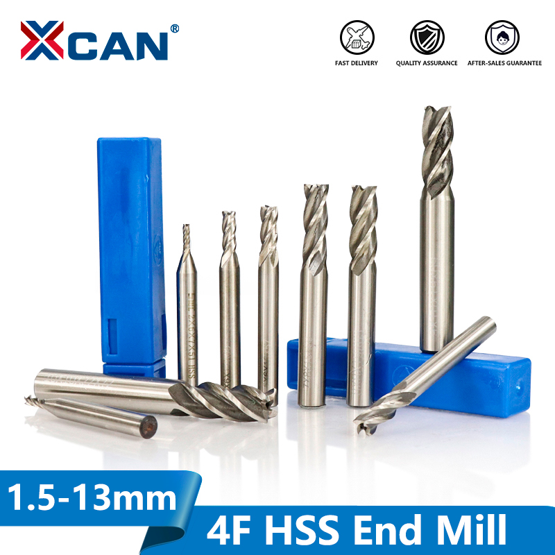 XCAN 1pc Diameter 1.5-13mm HSS End Mills 4 Flute Straight Shank End Milling Cutter